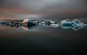 reflection, ice, water, Iceland, landscape