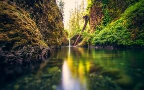 river, waterfall, landscape