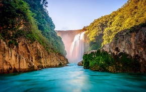 landscape, river, waterfall