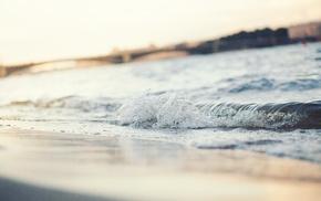 waves, sea, depth of field