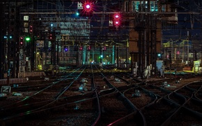 city lights, rail yard, city, night, railway