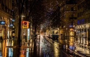 city, city lights, railway