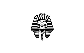 artwork, Pharaoh, monochrome, Egyptian, snake, skull