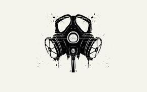 minimalism, monochrome, gas masks, apocalyptic