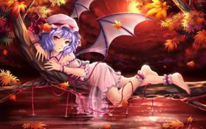 Touhou, anime, red, purple hair, pink dress, wings
