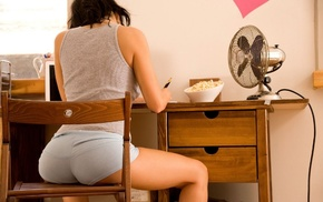 chair, girl, Michaela Isizzu, ass, desk, short shorts
