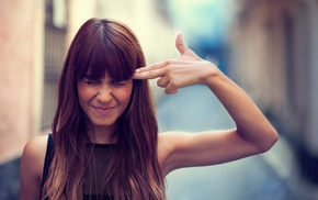 girl outdoors, long hair, finger gun, brunette, urban, girl