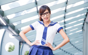 girl with glasses, school uniform, brunette, girl, Asian, looking at viewer