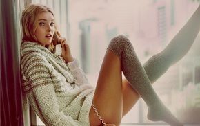 knee, highs, blonde, sweater, phone, stockings