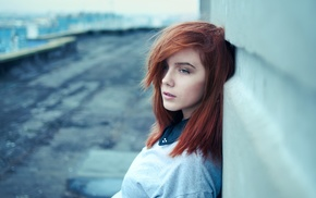 girl, face, looking away, redhead, hair in face