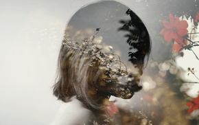 flowers, double exposure, girl, plants, face