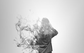 smoke, back, double exposure, girl, rear view, trees