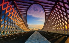 clouds, depth of field, bridge, sunset, road, sunlight