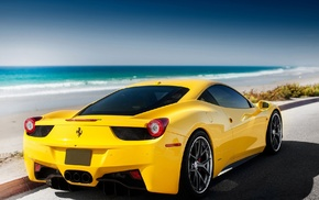 Ferrari 458, beach, car