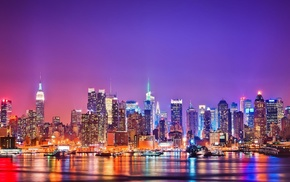 city lights, New York City, night, building