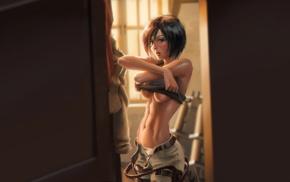 underboob, Mikasa Ackerman, anime girls, undressing, Shingeki no Kyojin