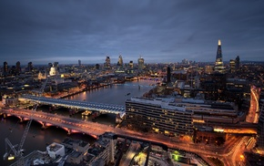 motion blur, lights, bridge, city, London, river