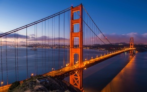 USA, Golden Gate Bridge, San Francisco, lights, sunset, bridge