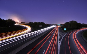 traffic, Freeway, road, long exposure, lights