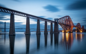 Forth Bridge, landscape, evening, Scotland, lights, reflection
