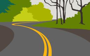 minimalism, trees, forest, road