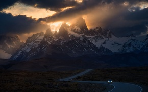 mountains, Patagonia, road, car, sunlight, clouds