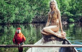 boat, girl, Candice Swanepoel, barefoot, bikini, girl outdoors