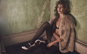 fur coats, heels, brunette, stockings, curly hair, looking at viewer