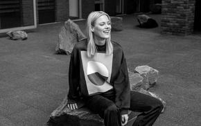monochrome, girl, girl outdoors, smiling, sitting