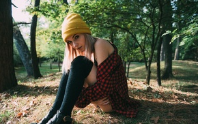 girl outdoors, woolly hat, looking at viewer, girl, plaid shirt, plaid