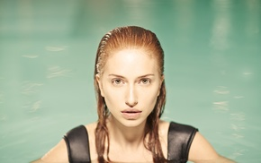 looking at viewer, wet hair, face, girl, redhead, swimming pool