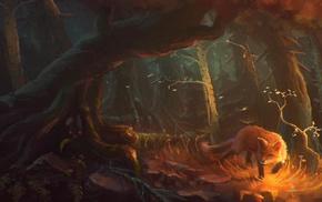 fantasy art, fox, artwork