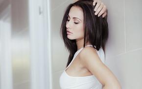 Michaela Isizzu, closed eyes, depth of field, long hair, girl, brunette