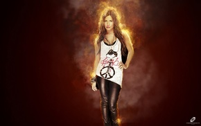 fire, Ashley Tisdale, peace sign, girl