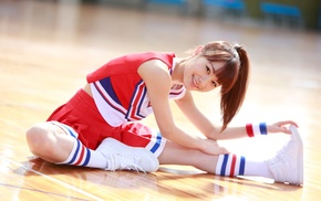 girl, Morning Musume, auburn hair, ponytail, smiling, sitting