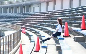 Ishida Ayumi, school uniform, girl, redhead, closed eyes, J