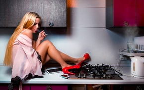 kitchen, high heels, blonde, smoking, girl, model