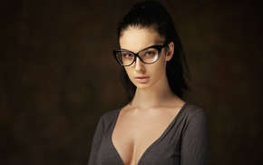 face, model, girl, cleavage, simple background, Alla Berger