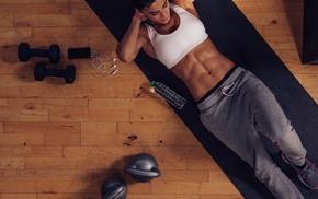 sweat pants, model, girl, Sweatpants, sports bra, abs