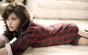 brunette, looking away, lying on front, girl, plaid, plaid shirt