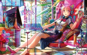 nekomimi, pink eyes, interfaces, chair, long hair, Fuji Choko