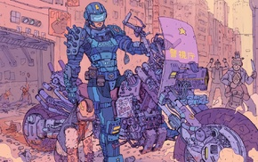 police, artwork, science fiction, Josan Gonzalez