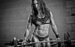 bodybuilding, fitness model, monochrome, girl, sports