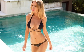 Renee Somerfield, swimming pool, blonde, girl, bikini, model