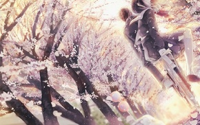 cherry blossom, original characters, school uniform, bicycle, anime girls