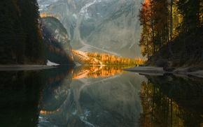 lake, mountains, trees, reflection, fall
