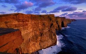 clouds, nature, cliff, sea