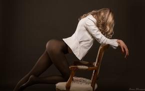 girl, blonde, kneeling, ass, chair, simple background