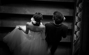 weddings, girl, men, monochrome, couple