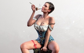 sitting, The Witcher 3 Wild Hunt, girl, smoking pipe, looking at viewer, legs apart